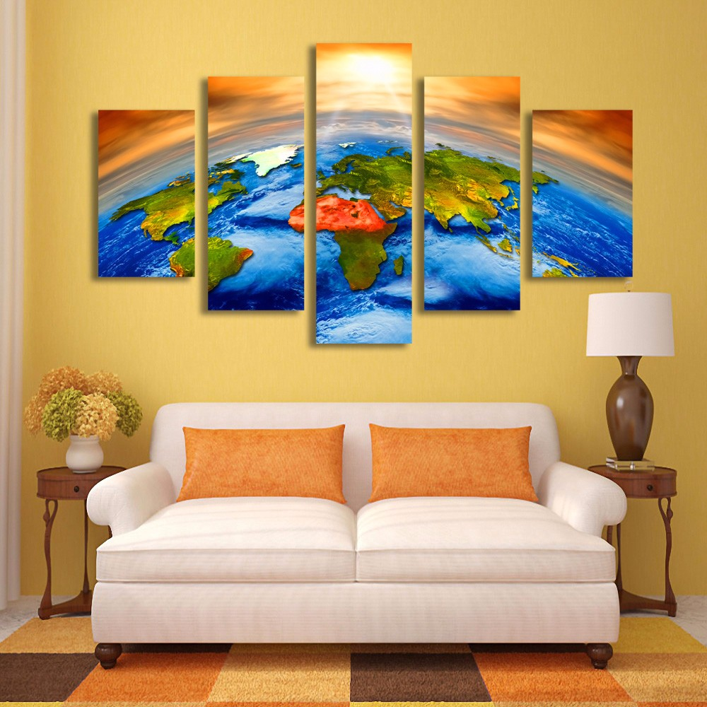 Wall Art Pictures Canvas Print Sun Outer Space Earth World Map ...