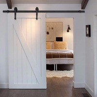 New 6 FT Black Modern Antique Style Sliding Barn Wood Door Hardware Closet Set TL28567