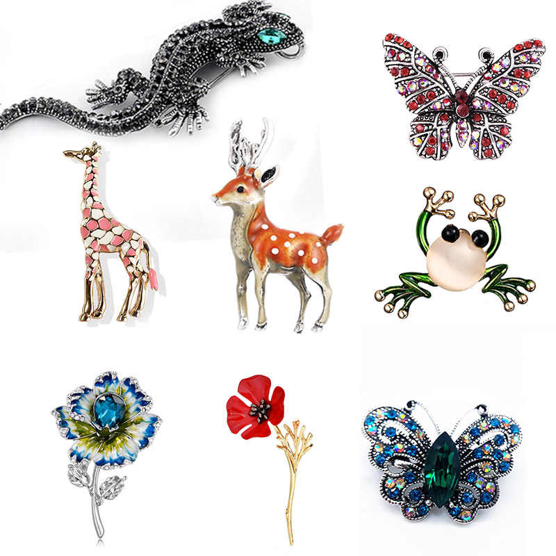 New crystal Women Alloy Animal Brooch Men Suit Sweater Pins Bag Hat Brooch Butterfly Leaves ballet flower 2019 Fashin Jewelry