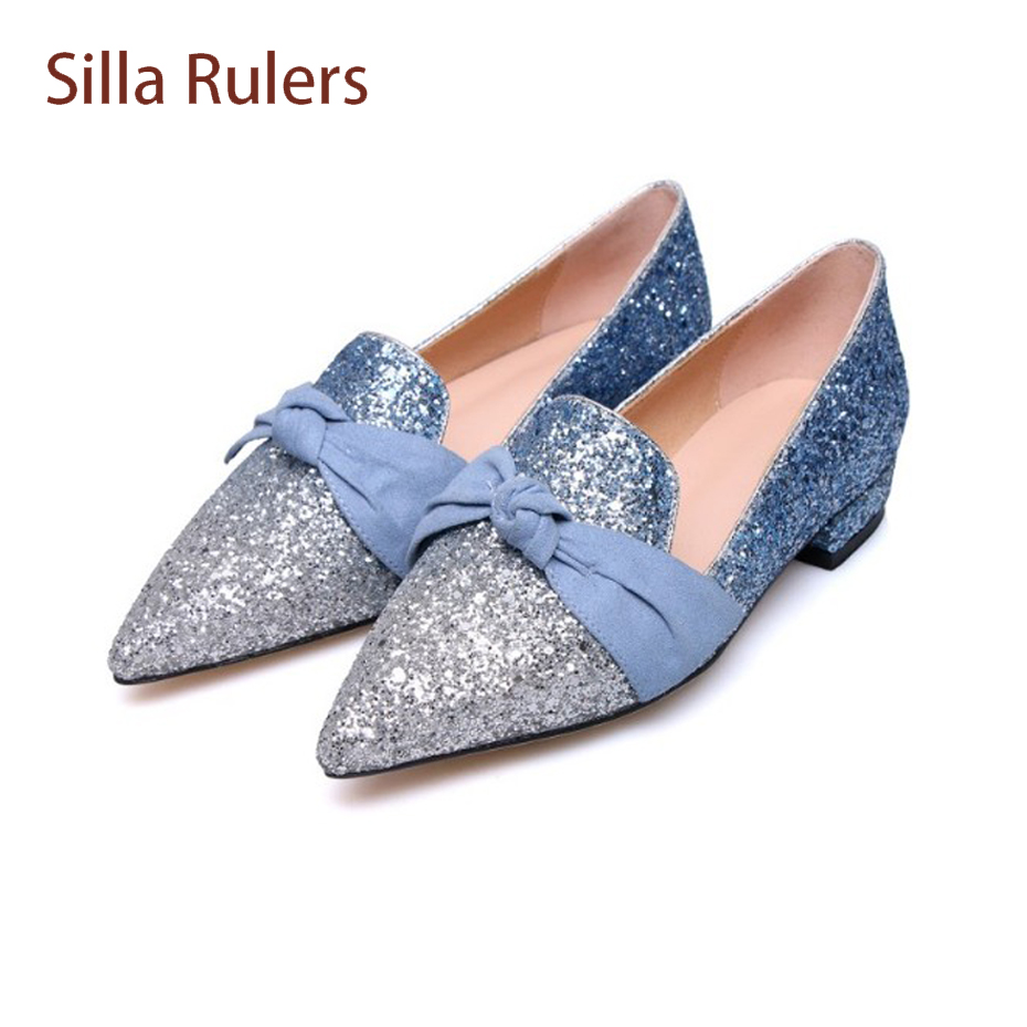 Silla Rulers Sequined Cloth Women Flats Pointed Toe Butterfly-knot Decor Slip On Comfortable Lady Shoes Glittering Wedding Shoe pu pointed toe flats with eyelet strap