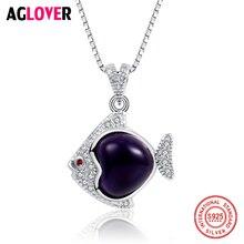 цена Amethyst 925 Sterling Silver Necklace Inlaid AAA Crystal Woman Fish Pendant Necklace Female Charm Jewelry онлайн в 2017 году