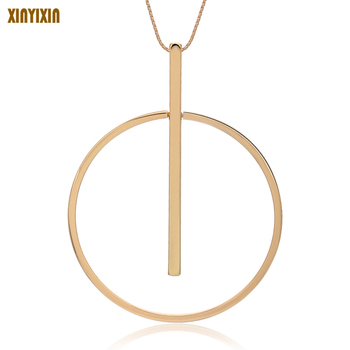 Simple Big Round Pendant Necklace Women Minimalist Gold Circle Long Necklace Elegant Collier femme 2019 Fashion Jewelry Her Gift