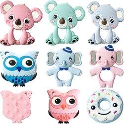 13 farben Silikon Beißringe Tier Koala Eule Elefanten Baby Ring Beißring Silikon Chew Charms Baby Zahnen Geschenk Kleinkind Spielzeug