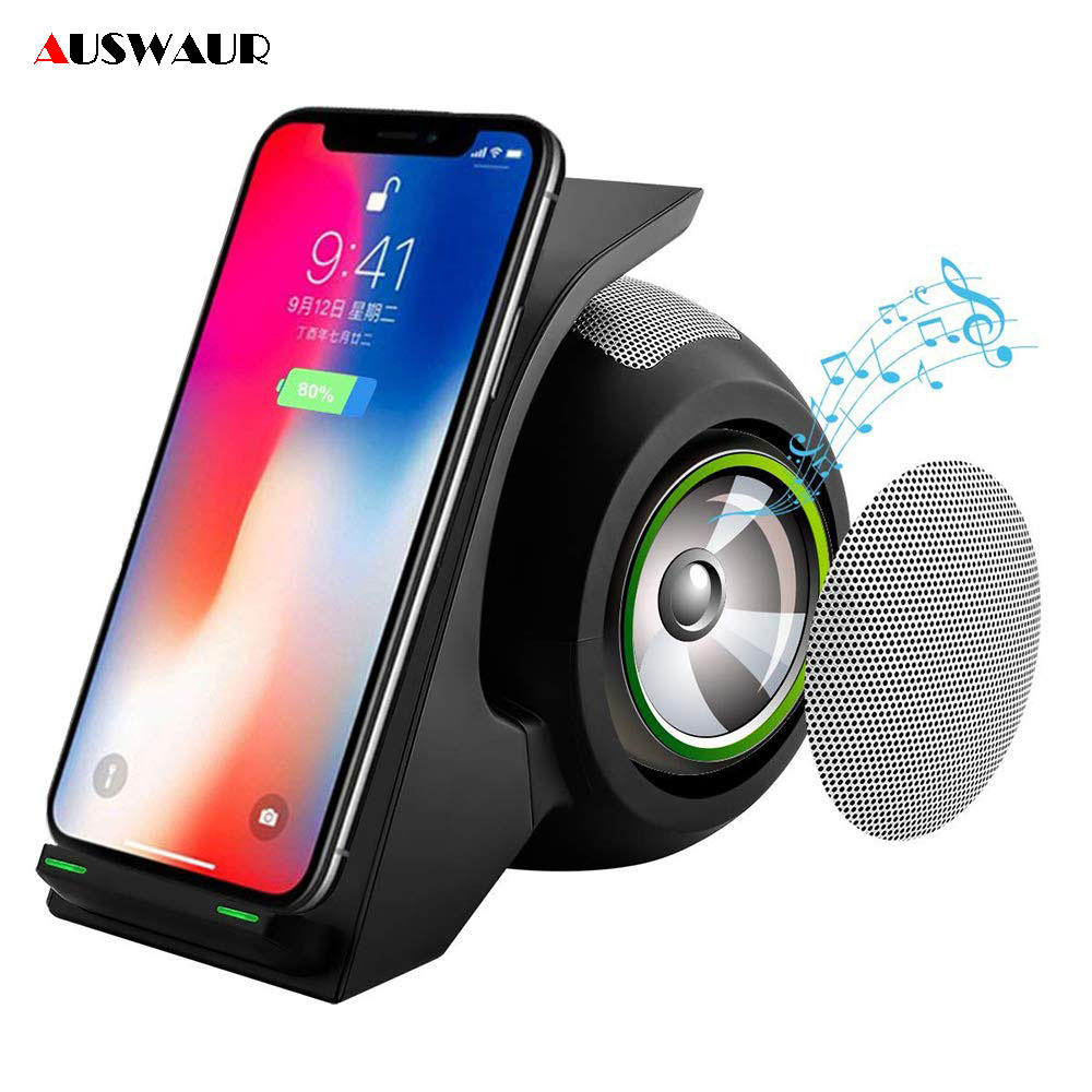 10W Wireless Charger Bluetooth Speaker for iPhone X XR XS MAX Samsung S9 S10 Plus Huawei P30 Pro Wireless Charge Stand Dock