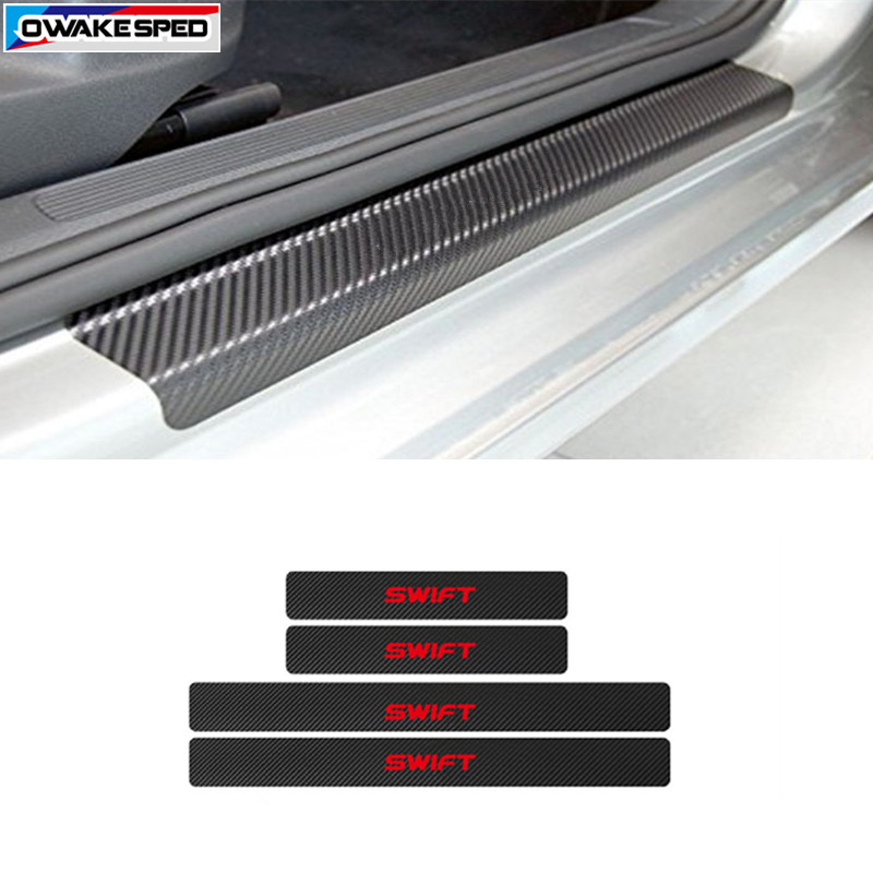 Car Styling Carbon Fiber Vinyl Sticker For Mitsubishi SUZUKI S CROSS Swift Vitara Jimny Auto Door Sill Scuff Customized Logo sticker