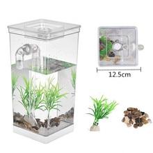 Bowl Aquarium-Betta Fish-Tank Incubator Fish-Bowl-Box Desktop-Decorative Office Plastic