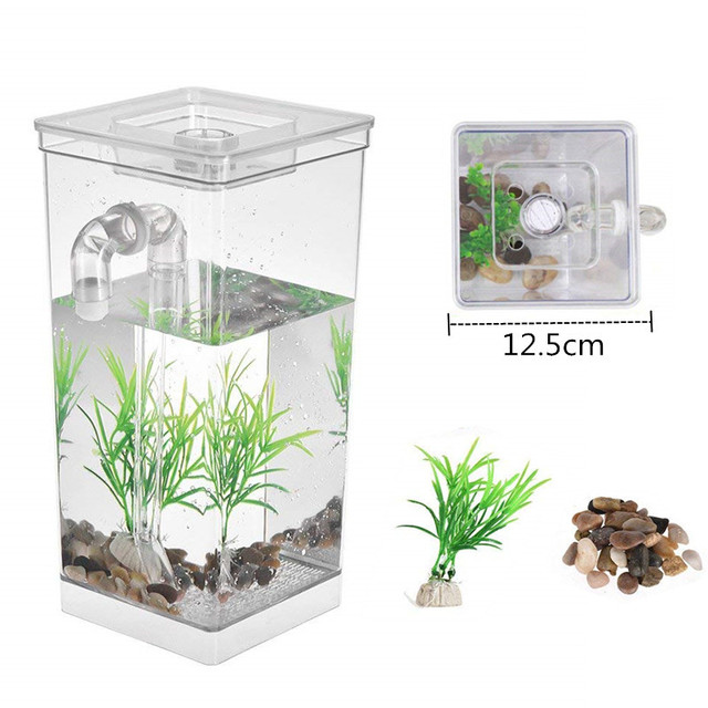 Decorative Fish Bowls Interesting Self Cleaning Plastic Mini Fish Tank Bowl Incubator Desktop