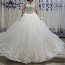 OKOUFEN 2019 Sheer Long Sleeves Wedding Dress For Ball Gown