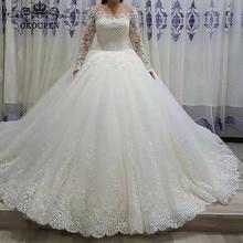 OKOUFEN 2019 Sheer Long Sleeves Wedding Dress For Ball Gown