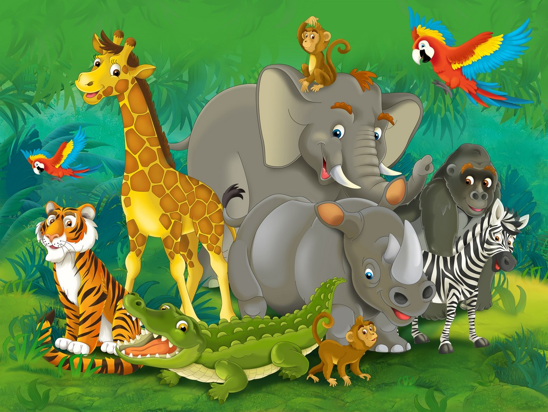 Cartoon Baby Shower Jungle Safari Animal Zoo Elephant