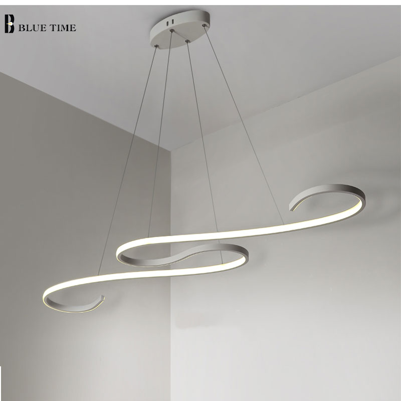 L108CM Black/White Modern LED Pendant Light For Living Dining Kitchen Room Hanging Lighting Aluminum Decoration LED Pendant lamp silver aluminum ball led pendant light for living room creative design home decoration hanging lamp dining room lighting fixture