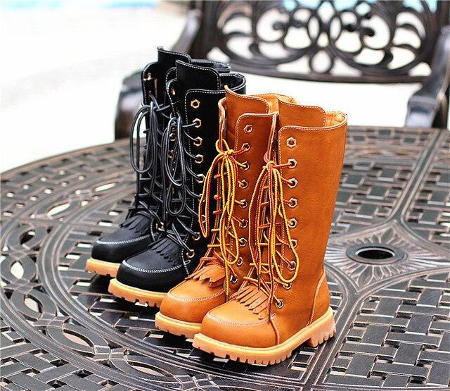 2017 Новый и мода зима дети рыцарь сапоги девушки Высокие хлопок сапоги кисточкой ретро сапоги плюс бархат большой детский shoes