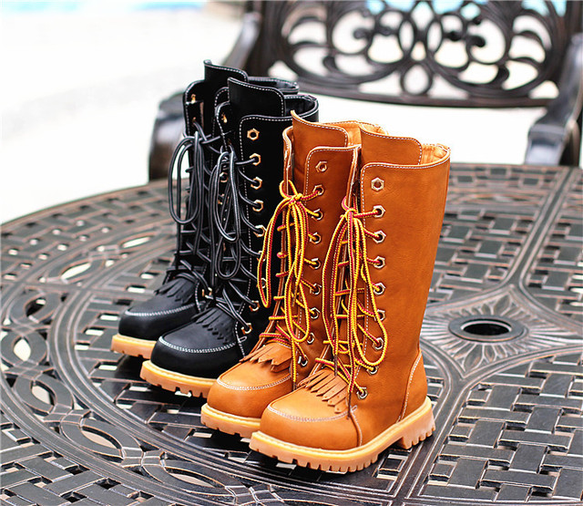 2017 New and fashion winter children knight boots girls High cotton boots tassel retro boots plus velvet large children's shoes