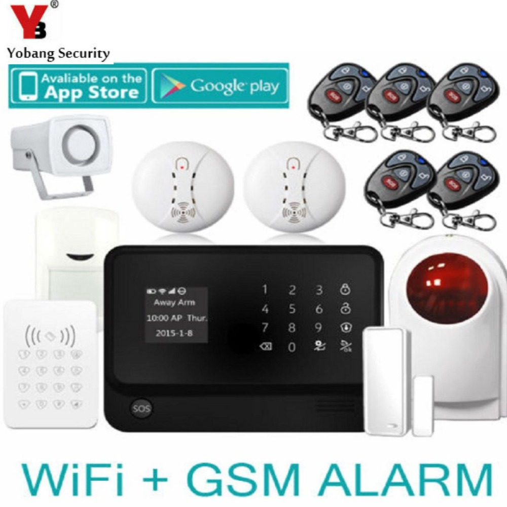 YobangSecurity GSM WiFi Alarm Security System APP Control Wireless Home Security System with Outdoor Flash Siren Door Sensor yobangsecurity 2016 wifi gsm gprs home security alarm system with ip camera app control wired siren pir door alarm sensor