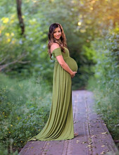 Maternity Jersey Dress For Photo Shooting Slash Neck Maternity Photography Props Gown Short Sleeve Stretchy Dresses Open Front
