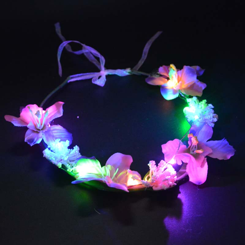 Sensible Women Girl Led Flashing Artificial Flower Garland Headband Light Floral Hairbands Concert Glow Party Wedding Supplies Orders Are Welcome. Home & Garden