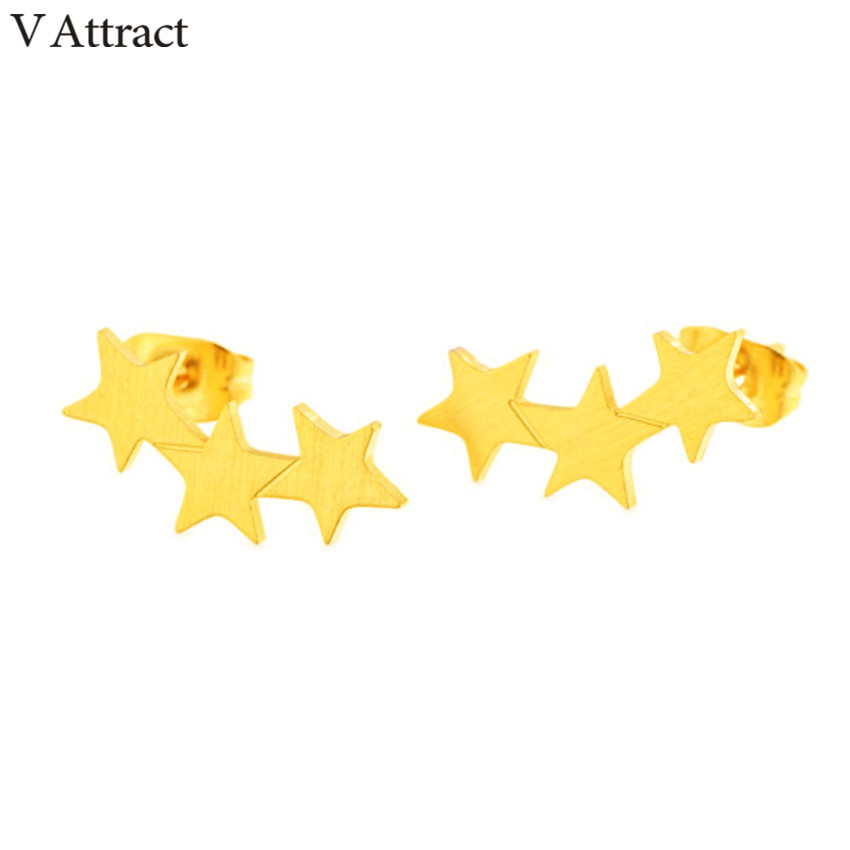 V Attract 2018 Boho Jewelry Stainless Steel Unique 3 Stars Statement Stud Earrings Rose Gold Mujer Oorbellen Voor Vrouwen
