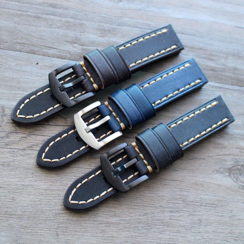 Handmade black brown blue 18mm 19mm 20mm 21mm 22mm retro military Men's Watch St