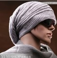 EDGENSION Autumn Street Hip-hop Style Men's Beanie Hats With Wrinkle Design Winter 2016 Knitting Wool Caps In Patch-color Sale