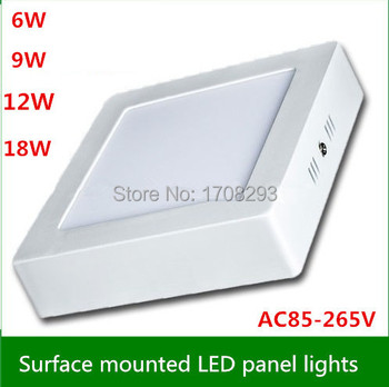 10pieces/lot 6W12W18W Square Led Surface Warm White  Super Bright LED Panel Light Ceiling Lamp Kit with LED Driver AC 110V-240V