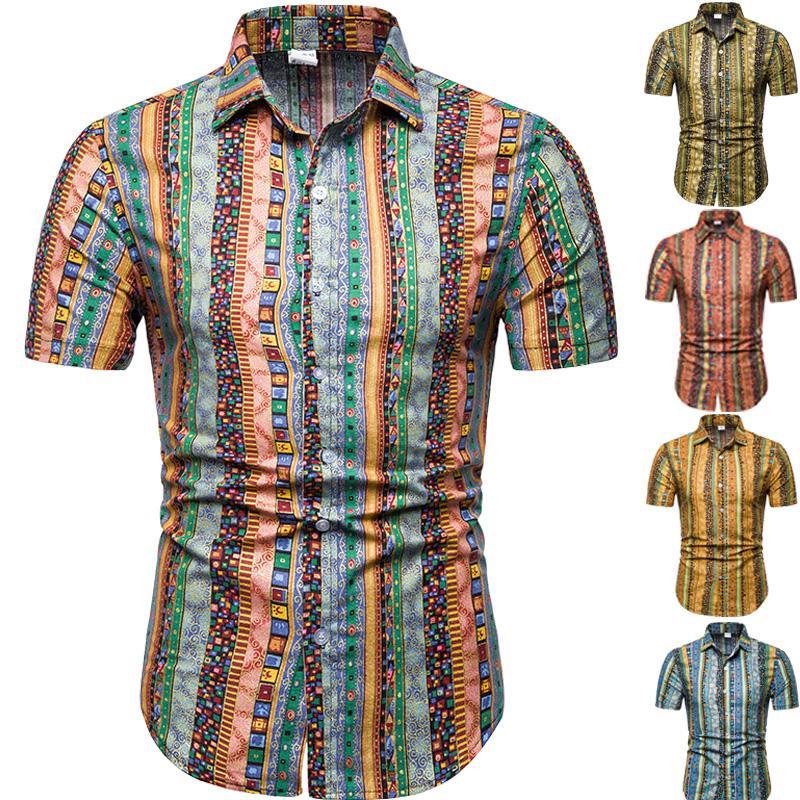 9cb28399 Hawaiian Shirt Mens Clothing Floral Linen Shirts Men Flower Ethnic style  Blouse Men Fashion Short sleeve yellow khaki