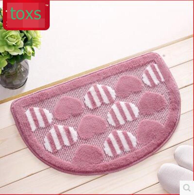 Polypropylene fiber semi-cirle mats love doormat bathroom foot rub hearthrug mat