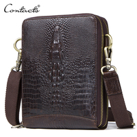 Top Quality Men Messenger Shoulder Bag Genuine Leather Vintage Men S Crocodile Crossbody Bag With Card