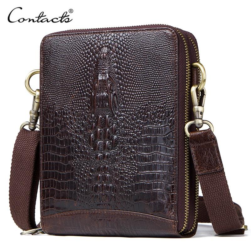 Top Quality Men Messenger Shoulder Bag Genuine Leather Vintage Men's Crocodile Crossbody Bag With Card Holder Mobile Phone Pouch все цены