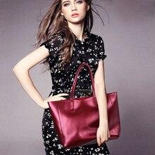 ESUFEIR Genuine Leather Women Handbag Fashion Composite Bag Solid Cowhide Shoulder Bag Large Capacity Ladies Bag bolsos KJ019