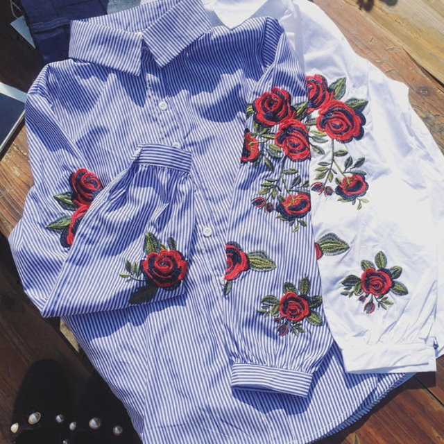 Sweet floral embroidery striped blouse elegant blue blouse blusa cotton office wear feminina chic shirts turn-down collar Blusas