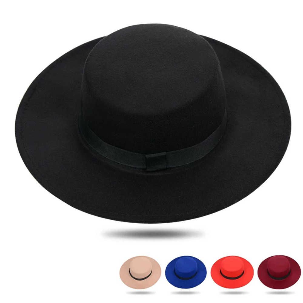 Nuevo sombrero clásico de fieltro de Color sólido con cinturón para hombres y mujeres gorra de Jazz de mezcla de ala ancha Simple iglesia Derby sombrero de copa plana Mujer