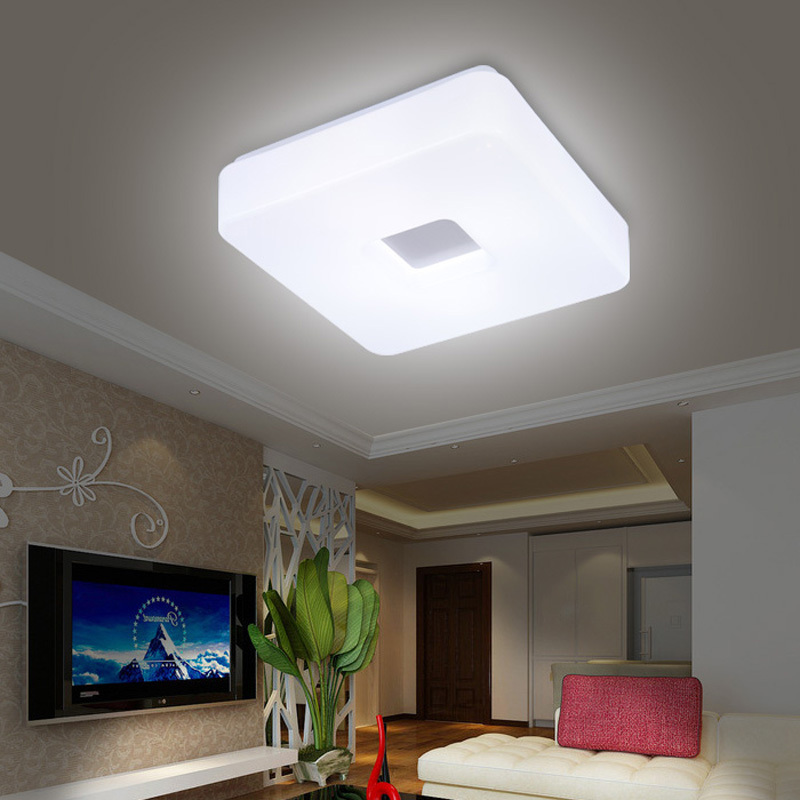 Free shipping modern led flush mount surface mounted square shape led ceiling light for living for Ceiling lights for living room philippines