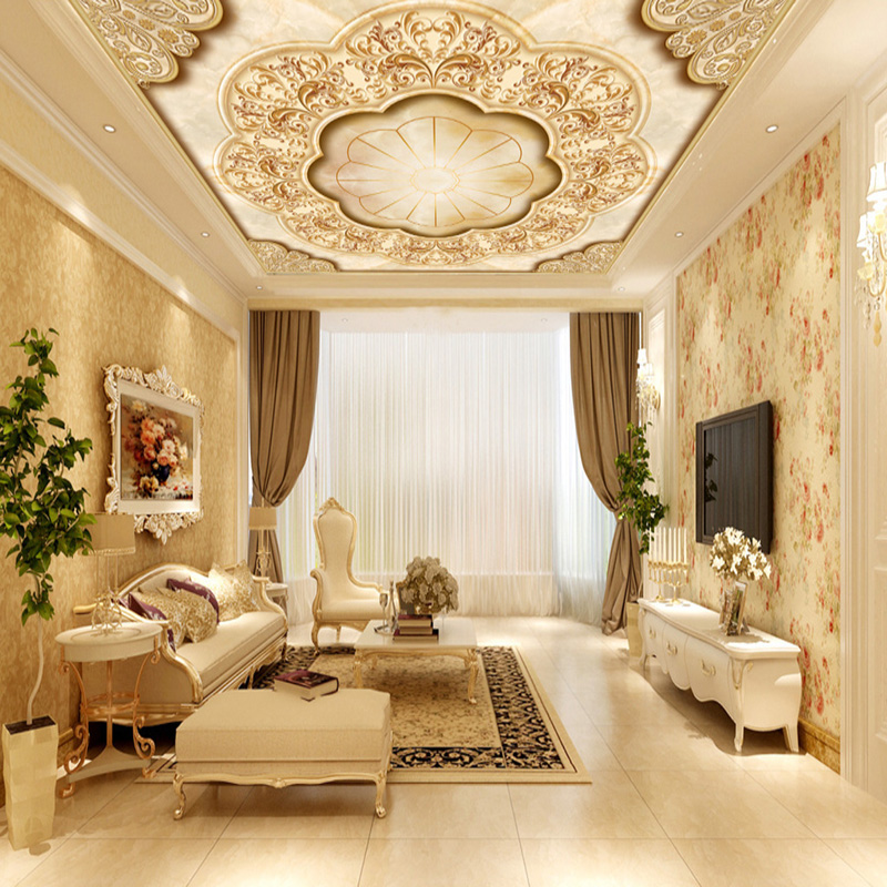 Wall Panel Wallpaper European Style Roll Leaf Flower Ceiling Mural ...