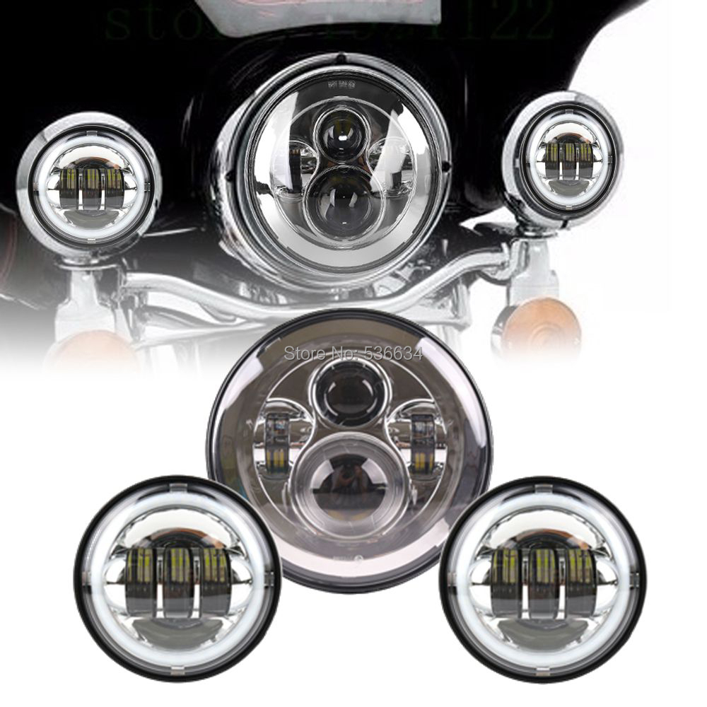 7Inch LED Round Projector Daymaker Headlight With Matching 4.5Inch LED Passing Fog Lights HaloFor Harley Davidson Softail Deluxe