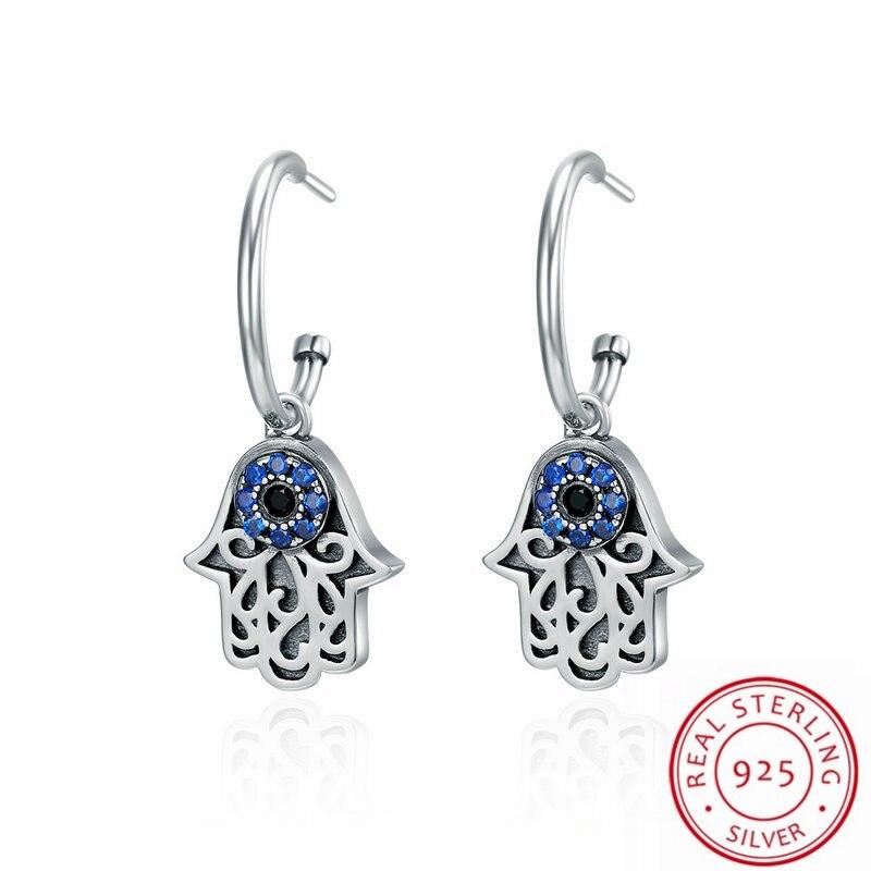 New Arrival The Guardian of Fatima Design Fashion Jewelry Earrings Sterling Silver with Blue CZ Women Gift Earrings For Women