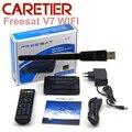 10 unids Youtube Videos gratis DVB-S2 1080 p full hd receptor de satélite V7 V7 set top box con WIFI FREESAT Satélite freesat receptor