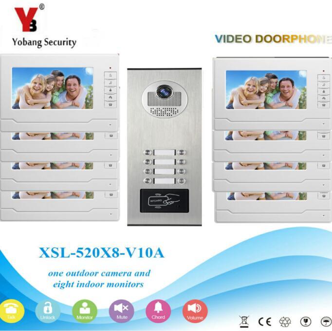 Yobang Security 2 To 12 Units Apartment/Flats Video Intercom Doorbell Waterproof RFID Access Door Camera Videophone Home Kits