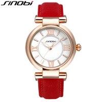 Sinobi Montre роковой красный кожаный ремешок аналоговые Relogios Feminino люкс высокое качество моде женщины кварца женщина наручные часы часы для дево...