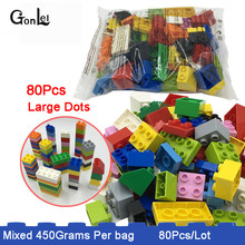 450g/Bag Basic Bricks Mixed Dots Bulk Assemble Large Particles Building Blocks Supplement DIY Parts Gifts Toys Fit for Duploe