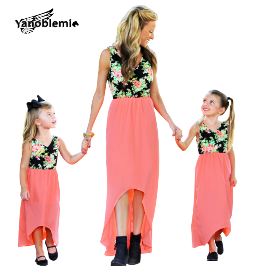 Summer New Matching Mother Daughter Clothes Floral Patchwork Sleeveless Dresses Girls Pr ...