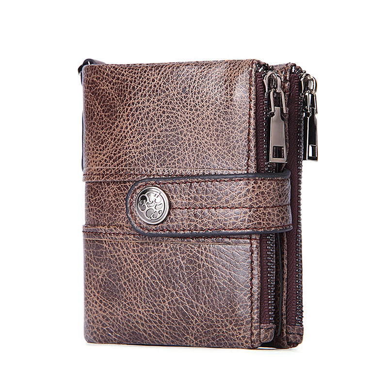 Men Wallet Oil Wax Cowhide Genuine Leather Wallets Coin Purse Clutch Hasp Open Top Quality Retro Short Wallet fashion 351