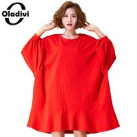 Oladivi Oversized Plus Size Women Clothing Casual Loose Shirt Dress 2018 Autumn New Female Top Tee Dresses Ladies Tunic Vestidos