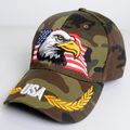 high quality snapback cap cotton USA flag embroidery hat woodland camo baseball cap animal eagle embroidery sports outdoor cap