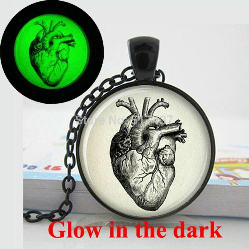 Glow in the Dark anatomical heart necklace Anatomical heart jewelry Art photo Glass glow in the dark necklaces heart
