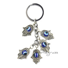 BRISTLEGRASS Turkish Blue Evil Eye Hamsa Hands Keychain Car Key Chain Ring Holder Amulet Pendant Lucky Charm Blessing Protection