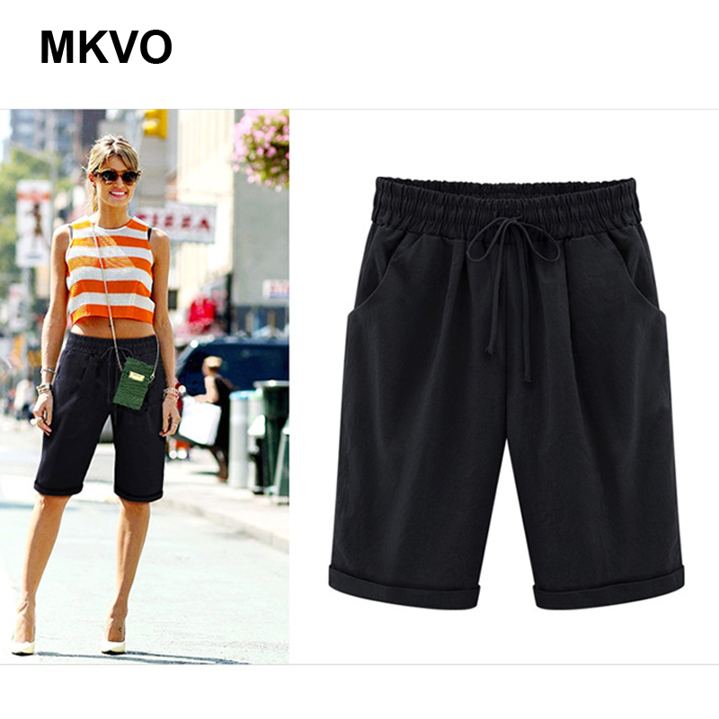 8XL Summer Casual Lady Capri Pants Casual Cotton Elastic High Waist Plus Size Pants Fashion Resort Beach Pants Women's Clothes