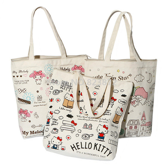 9164567d601e Cute Hello Kitty My Melody Canvas Shoulder Bag Women Handbag Little Twin  Stars Kawaii Cartoon Book Bags Shopping Bag Zipper