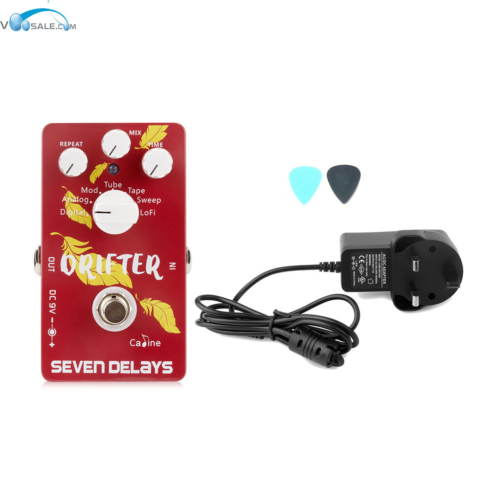 Caline CP-37 SEVEN DELAYS Guitar Effects Pedals+AC100V-240V to DC9V/1A Adapter Use Have AU UK US EU Plug 100pcs us eu uk au plug ac line 1 5m dc line 1 2m ac100 240v to dc 24v 1a 24w power adapter 24v1a ac adapter