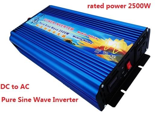цена на off grid 2500W pure sine wave power inverter peak power 5000W 5KW DC12V/24V to AC110V/220V 50HZ 60HZ digital display inverter