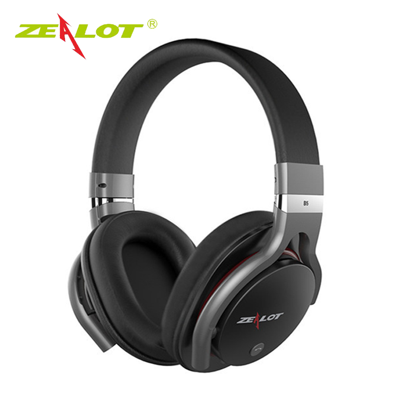ZEALOT B5 Bluetooth4.0 Stereo Headphones Built-in Microphone Wireless Over Ear Headset With Micro SD Slot For Smart Phone PC 2016 new metal bluetooth stereo super bass headphones 8600 bluetooth 4 0 high fidelity wireless over ear headset for smart phone